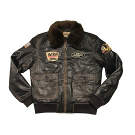 Giacca in pelle G1 Hot Rod marrone scuro Uomo