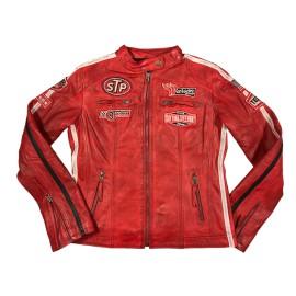 Giacca in pelle Daytona rossa Donna