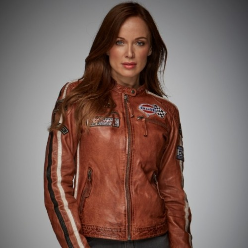 Giacca in pelle Gulf GP Originals Lady Racing Cognac Donna