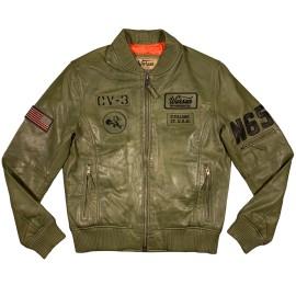 Giacca in pelle US Navy PIlot verde Uomo