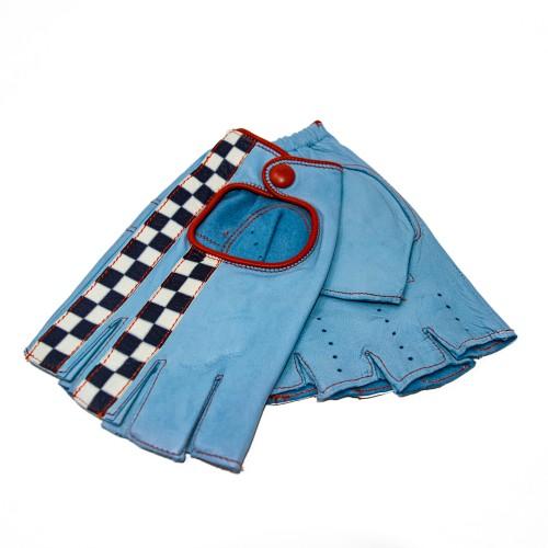 Guanto Check Flag Racing azzurro